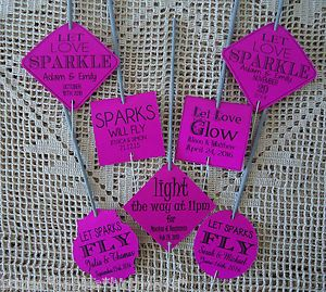 Kraft-Hot-Pink-Wedding-Favour-Gift-Tags-Sparklers-Bomboniere-PERSONALISED