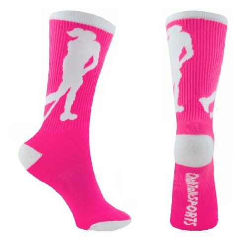 Field Hockey Crew Socks (Pink) one size fits most:   Cushioned half cut style delivers secure fit perfect to wear with sports sneakers, cleats or shoes  Moisture-wicking and air-circulating ventilation blend keeps feet comfortable and dry. Prevents growth of odor-causing bacteria in the sock  Ultra spin knit fabric and arch compression hugs feet and keeps socks in place  Fits Women's Shoe Size 4-8 - 1 Pair per package  DESIGNED AND SOLD BY ChalkTalk SPORTS - A USA based, family owned a...