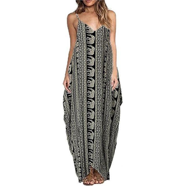 2017 frauen lange casual kleider sexy frauen sleeveless riemen v-ausschnitt druck maxi strand dress vestidos plus größe