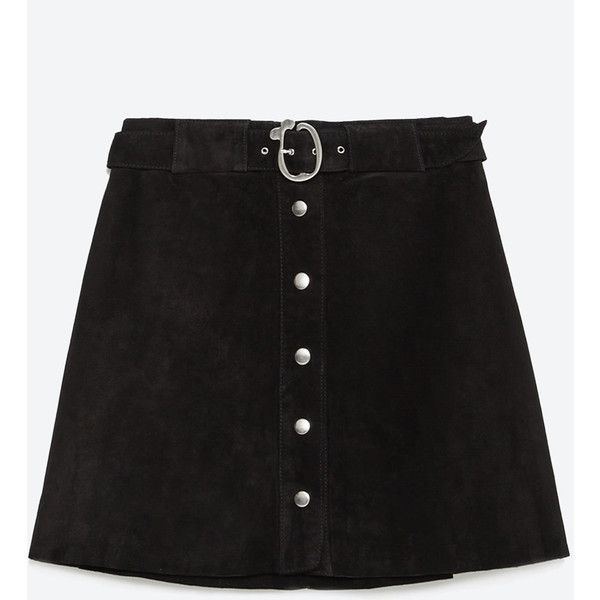 Zara Leather Skirt ($30) ❤ liked on Polyvore featuring skirts, bottoms, black, faldas, zara skirt, leather skirt and knee length leather skirt