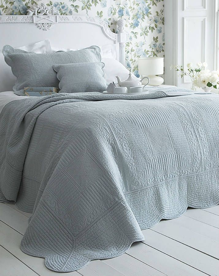 duck egg blue french style quilted bedspread by the comfi cottage | notonthehighstreet.com