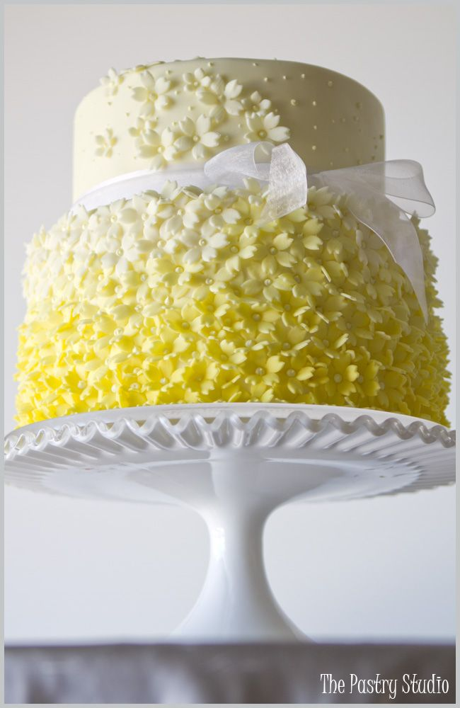 Yellow Ombré Cake with Sugar-Paste Blossoms by The Pastry StudioBridal Shower Cake, Yellow Ombre, Sugar Paste, Ombré Cake, Ombre Cake, Beautiful Cake, Wedding Cakes, Yellow Cakes, Flower Cake