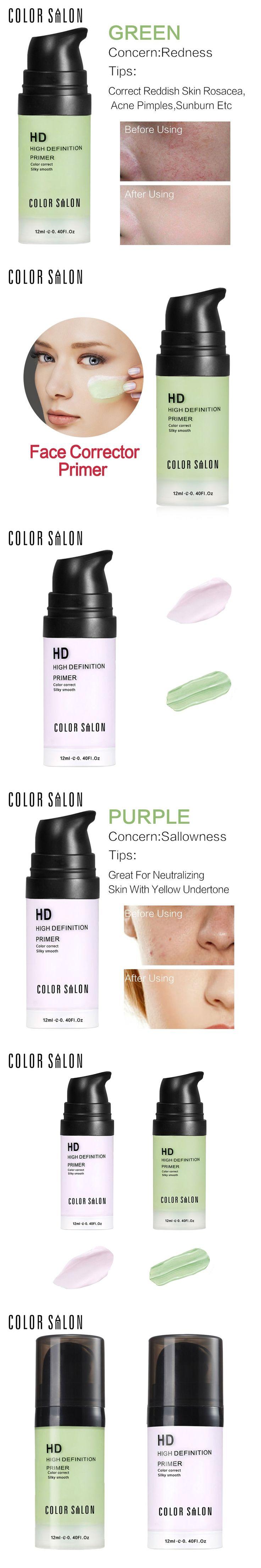 Color Salon HD Face Corrector Primer 12ml Smooth Makeup Base Contour Facial Concealer Cream Natural Make up Moisturizer Cosmetic