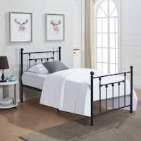 Twin/Full/ Size Victorian Metal Platform Bed,Box Spring Replacement with Headboard