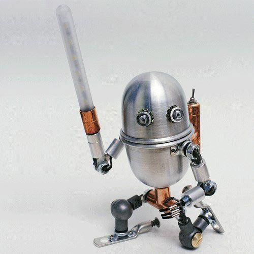 Custom Order Handmade Robot LED Lamp Steampunk Electrical Industrial Pipe Desk…