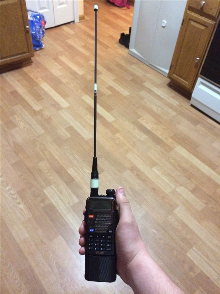 My handheld ham radio baofeng uv-5r with extended battery and aftermarket antenna