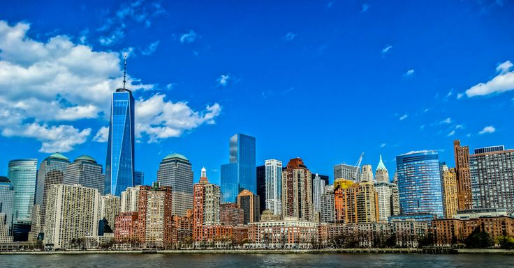NYC Downtown - view of the financial district from the bote, one of the better place to shot a beautiful skyline.