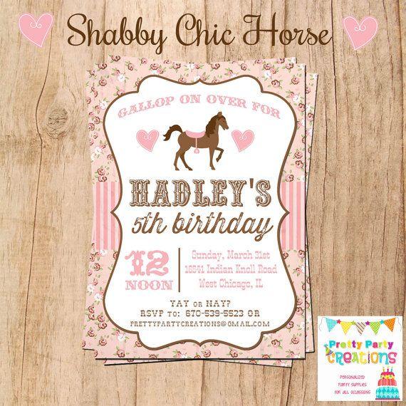 SHABBY+CHIC+HORSE+invitation++You+Print++by+PrettyPartyCreations,+$11.50.   Maybe next year's birthday