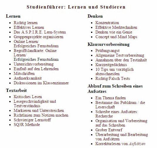 Studienführer: Lernen und Studieren