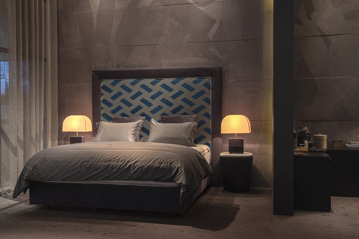 Frame Bed with fabric by Dedar Milano, Twist Side Table and Flare Table Lamp by Colunex @ Salone del Mobile Milano 2017