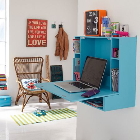 Drop-leaf desk for home office or child's study desk - This compact wall-mounted desk has a drop-down flap that serves as a worktop for a laptop that takes up very little space in a small home office or child's bedroom. When not in use the flap is easily closed to create a neat and tidy workspace. - See more at: http://www.home-dzine.co.za/diy/diy-dropleaf-desk.htm#sthash.36F1FE4C.dpuf