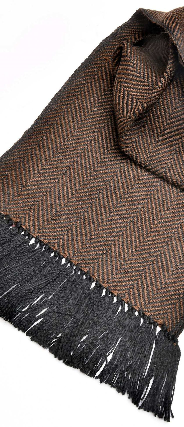 Mucros Handwoven Alpaca Scarf - Black/Chocolate Herringbone | Irish Inspiration