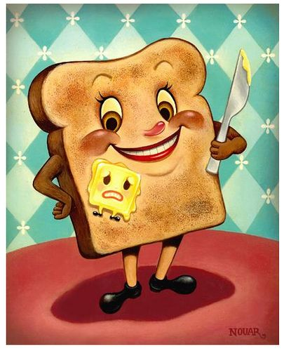 Retro-look toast-n-butter.