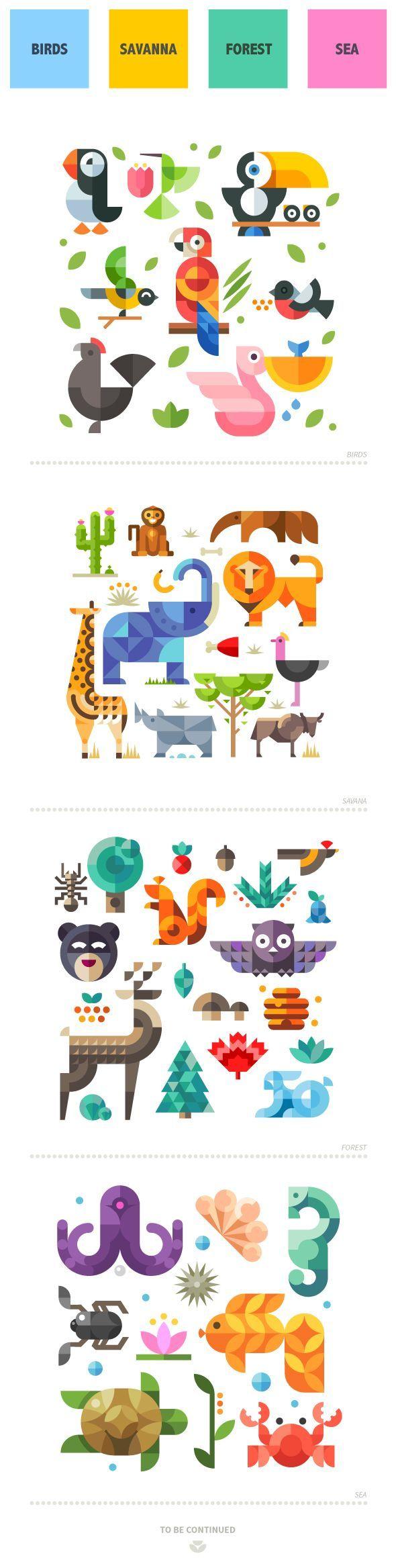 Magic animal world, geometric flat on Behance ¡Una muy buena Idea de impresión para el cuarto de tus hijos! ---> http://www.insta-arte.com.mx   :3