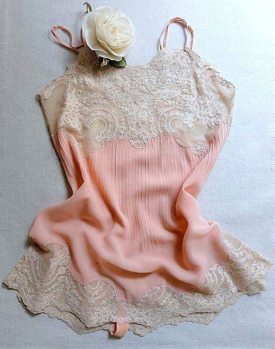 Vintage lingerie 1920s peach silk georgette teddy by VanitiesFair