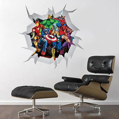 COMIC MARVEL HEROES WALL CRACK ART DECOR STICKER Decal, Mural, boys Bedroom in Home, Furniture & DIY, Home Decor, Wall Decals & Stickers | eBay
