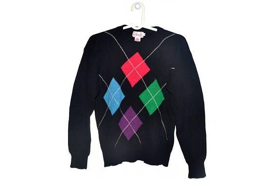 Womens Vintage Wool Sweater Lambswool Angora Geometric Diamond
