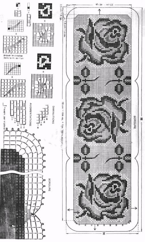 Filet Crochet Table Cloth - Three Roses