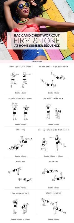 Grab a set of dumbbells and take thirty minutes to sculpt some seriously sexy chest and back! This upper body workout will help you firm up your chest, improve your posture and get a sleek, toned back. http://www.spotebi.com/workout-routines/chest-back-bikini-body-workout-women/