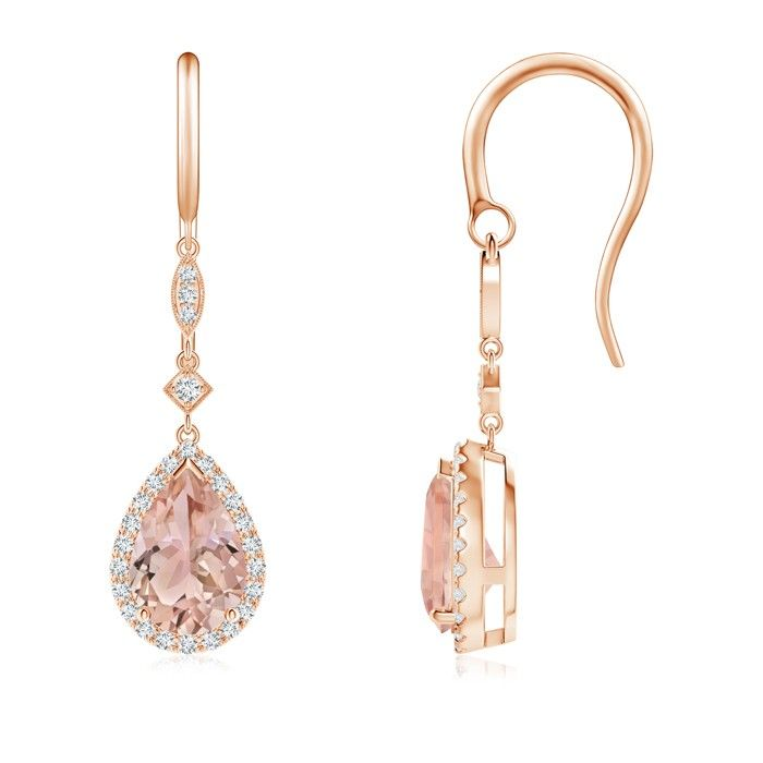 Dangling from shepherd hooks are these delicately crafted morganite dangle earrings in 14k gold. Pear-shaped morganites are illuminated by a halo of precious diamonds that create a remarkable contrast.