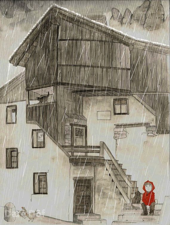 Rainy Day on the Italian Mountains Art by DareDofIllustrations