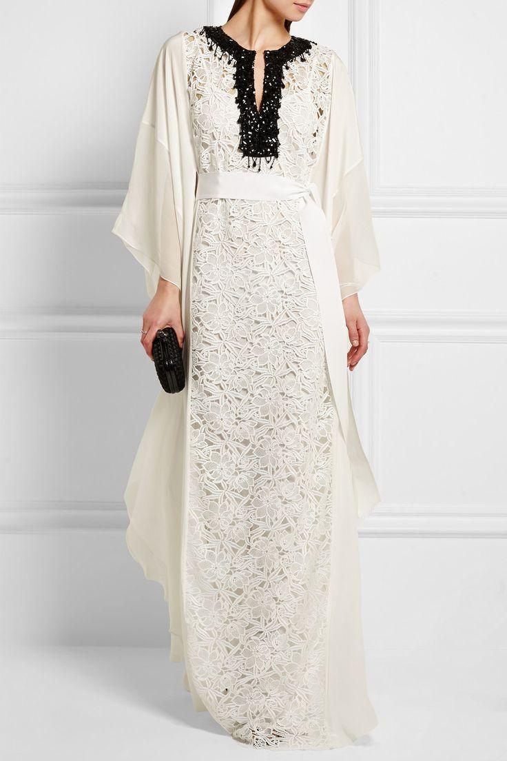 Oscar de la Renta | Embellished guipure lace and silk crepe de chine maxi dress | NET-A-PORTER.COM