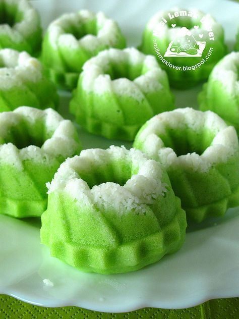 Puteri  Ayu (steamed mini pandan sponge cake) by Nasi Lemak Lover Wonder if possible to substitute ovalette with condensed milk