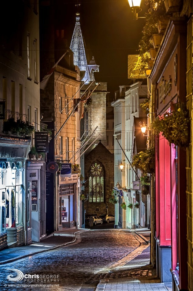 Streets at night in Guernsey, Channel Islands. I've become consumed with the idea of visitng Guernsey after reading 'The Guernsey Literary and Potato Peel Pie Society'.