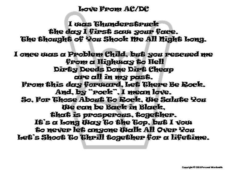 Rock And Roll Wedding Vows Printable Funny Poem Short Marriage Digital Print Rhyming