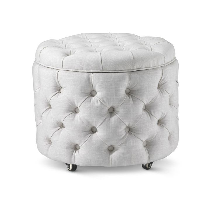 Whether you use it as a foot stool or side table the Emma Storage Ottoman Small in Linen White is a perfect accent piece for any living room and has inner st...