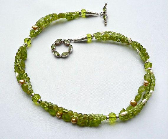 Peridoto3-strand gargantilla con peridoto por BlushingMermaid