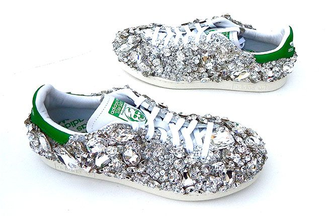 The Story Behind Pharrell Williams' 1600-Swarovski Crystal Luxury Adidas Sneakers crafted by @Gasoline Glamour