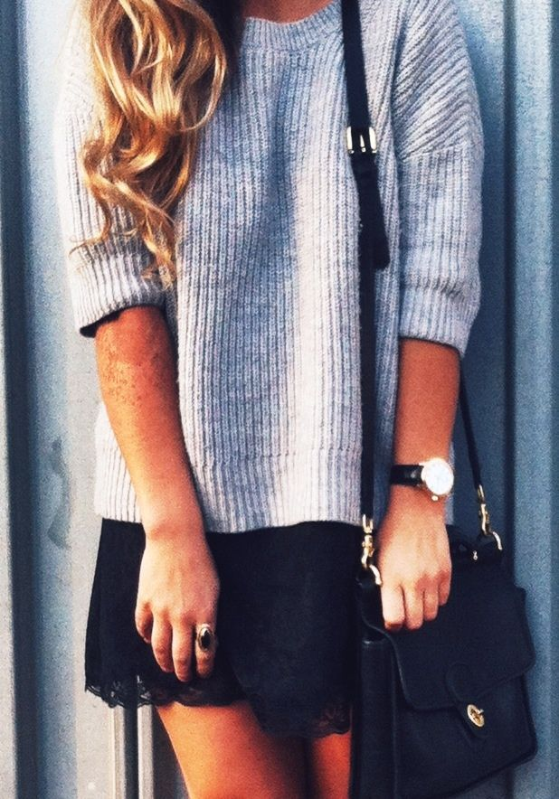 air max 2003 Fall   Winter   street chic style   oversized grey sweater   black lace mini skirt   black handbag