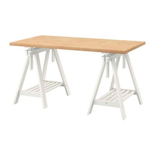 "LINNMON / FINNVARD Table - birch effect/white, 59x29 1/2 "" - IKEA"