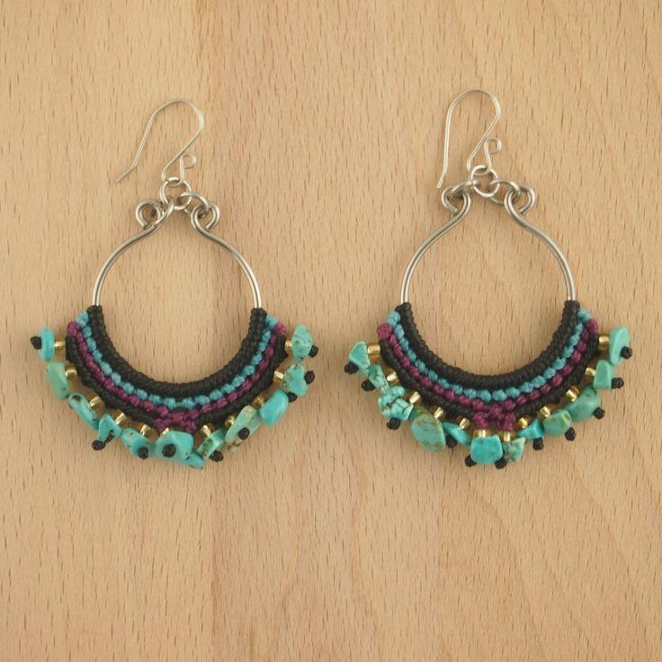 Boucles d'oreilles SILFO turquoise faits main latino. Bijoux fait main ethnique chic.