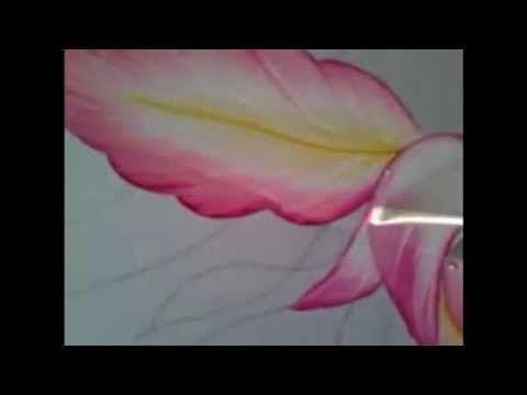 Pintura en tela orquídea rosa # 1 con cony - YouTube