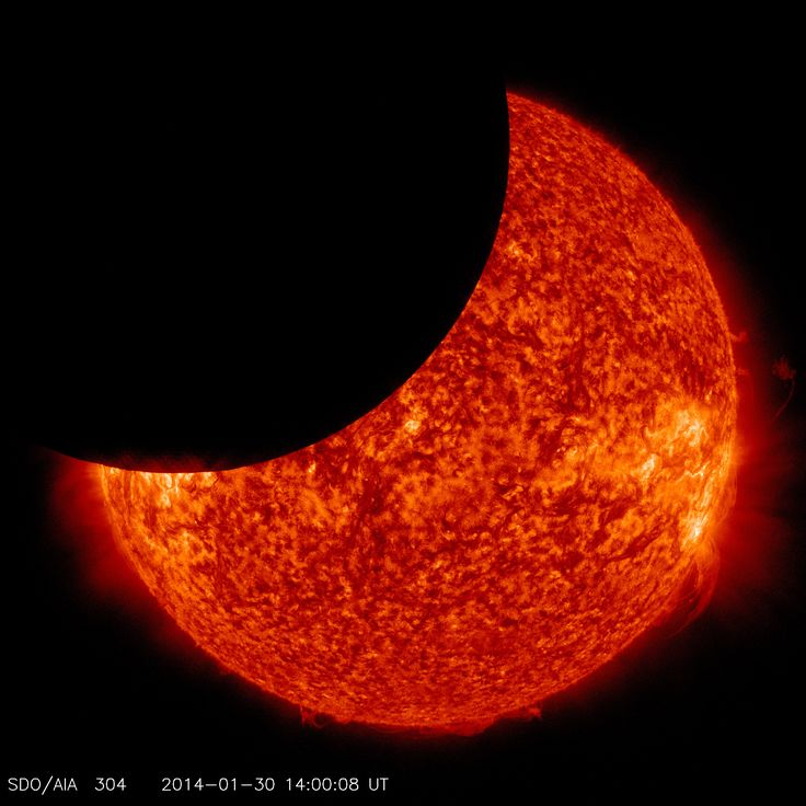 Solar Dynamics Observatory Sees Lunar Transit  On Jan. 30, 2014, beginning at 8:31 a.m EST, the moon moved between NASA's Solar Dynamics Observatory, or SDO, and the sun, giving the observatory a view of a partial solar eclipse from space.