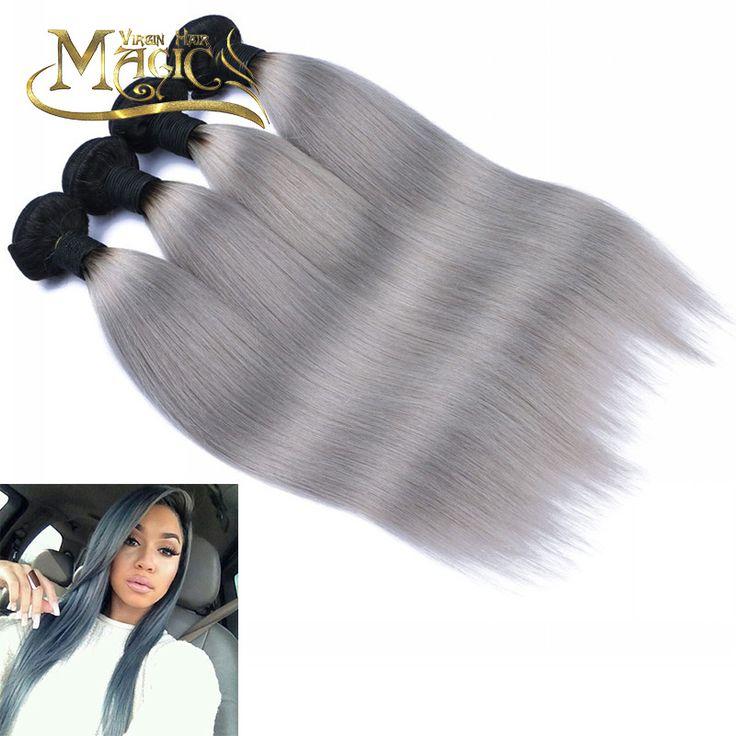 7A Virgin Malaysian Hair 1B/Grey Top Quality Malaysian Human Hair 4 Bundles Silky Straight Ombre Silver Gray Hair Weave