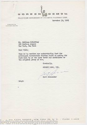 SHIRLEY BOOTH FORD MOTORS ADVERTISING LETTER SIGNED BY PRODUCER BERT SCHNEIDER