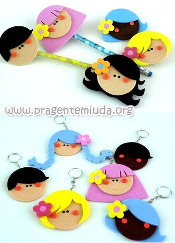 lembrancinhas para dia das crianças feitas em EVA com moldes