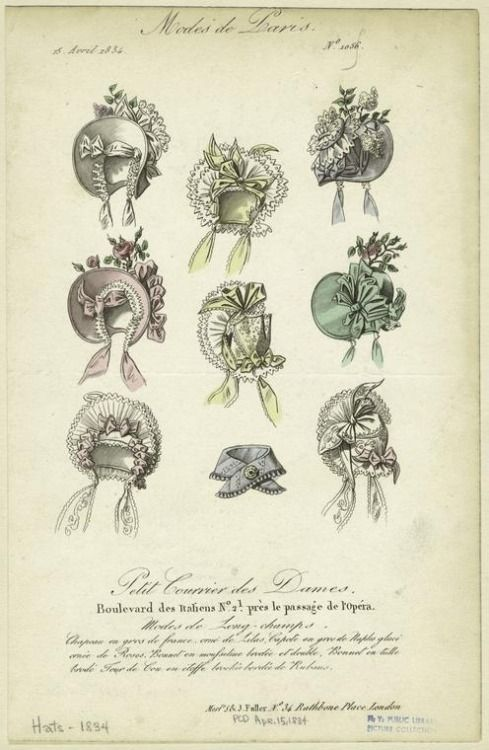 hatsfromhistory:  Petit Courrier des Dames, 1834. A wonderful collection of spring bonnets!  Aren't those colors just delicious?