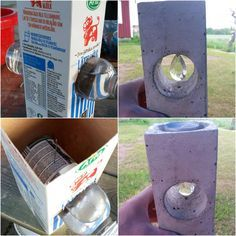 beton kaarsenhouder m.b.v melkpak en plastic fles gemaakt / Could use PVC pipe for larger items