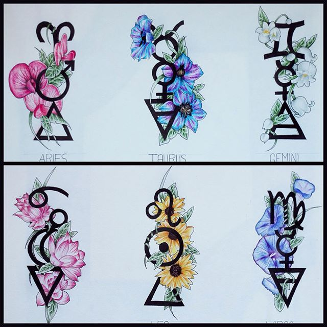 The first 6 zodiac designs. On each design from top to bottom, they represent the sign, their ruling planet, their element and then the flower. 1. Aries, Mars, fire and sweet pea. 2. Taurus, Venus, Earth and Delphinium 3. Gemini, Mercury, Air and Lily of the valley 4. Cancer, Moon, Water and Lotus 5. Leo, Sun, Fire and Sunflower 6. Virgo, Mercury, Earth and Morning Glory. hopefully will have the other 6 completed soon!