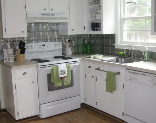 budget kitchen update pressed tin backsplash