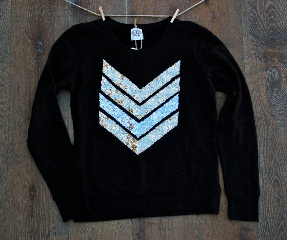 Sequin Chevron/Arrow Design Sweatshirt - The Dazzle Me Chevron Shirt - Liam Payne Tattoo
