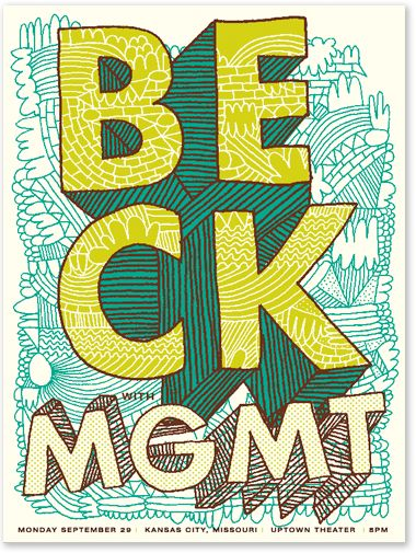 Tad Carpenter illustration: Hand, Gigposters, Beck Mgmt, Gig Posters, Music Posters, Typography, Graphic Design Posters, Concert Posters