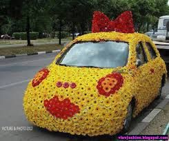Wedding Car Decorated with flowers.