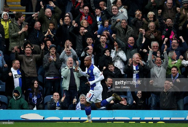 El Hadji Diouf of Blackburn Rovers celebrates scoring an equalising goal during the Barclays Premier League match between Blackburn Rovers and Chelsea at Ewood Park on March 21, 2010 in Blackburn, England.