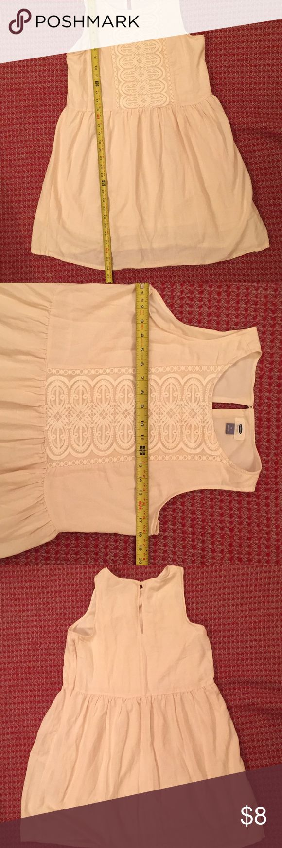 Old navy cream colored beach dress Cream colored with cream lining , a side zipper, a key hole button in the back and a crochet front. A awesome summer companion. By old navy. Old Navy Dresses