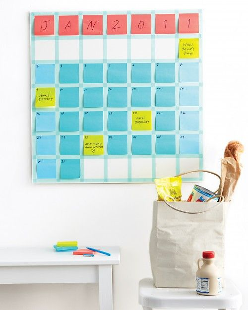Post-It Note Calendar (Keep the date & post it separate so that you can move unfinished tasks to a new day without guilt) :-)